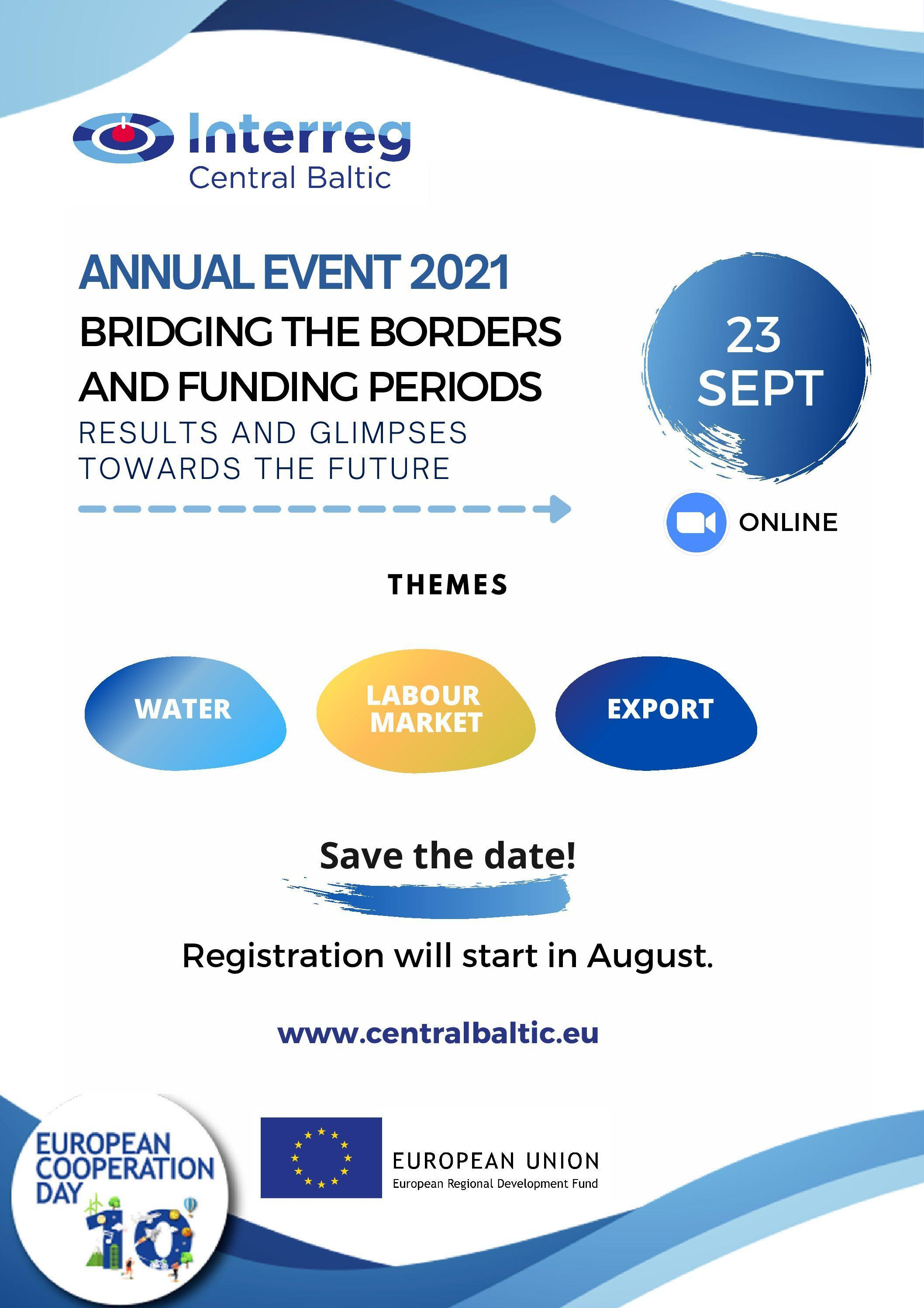 Read more about the article 15.6.2021 Save the date: Central Baltic Annual Event & EC Day on 23 September 2021 (online)